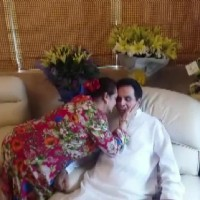Saira Banu wishing Dilip Kumar at his Birthday Celebration