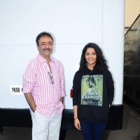Rajkumar Hirani & Ritika Singh at Promotions of Saala Khadoos