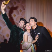 Manish Paul Clicks Selfie with Asin & Rahul Sharma at their Wedding Reception
