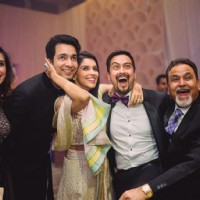 Asin and Rahul Sharma Poses with Friends at their Wedding Reception