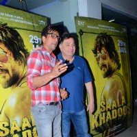 Javed Jaffrey and Rishi Kapoor at Special Screening of 'Saala Khadoos'