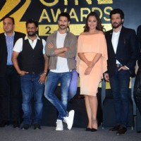 Resul Pookutty, Kriti Sanon, Sonakshi Sinha, Anil and Shahid Kapoor at Press Meet of Zee Cine Awards