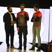 Nandish Singh Sandhu interacts with the audience at Charmi Shah's Fashion Show