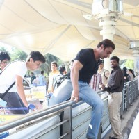 Sohail Khan and Son Jumps and Crosses - Snapped at Airport