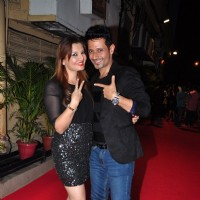 Manmeet Singh Poses with Deepshikha at Meet Bros Success Bash