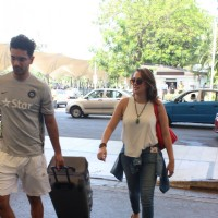 Hazel Keech with Angad Bedi Snapped at Airport