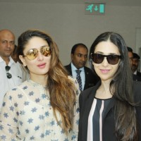Karisma Kapoor and Kareena Kapoor Leave for TOIFA Awards