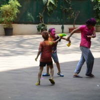 Sanjay Dutt's Kids Iqra Dutt and Shahraan Dutt Play Holi