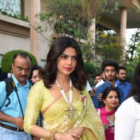 Priyanka Chopra Looks ELegant in Yellow Saree at Press Meet for Receiving Padma Bhushan
