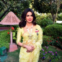 Priyanka Chopra Stuns with her Looks in Yellow Saree at Press Meet for Receiving Padma Bhushan