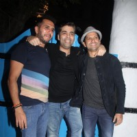 Ritesh Sidhwani, Karan Johar and Farhan Akhtar at Wrap up Bash of the film 'Baar Baar Dekho'