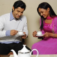Shubh and Suhani having tea together