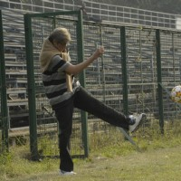Amitabh Bachchan playing football on sets of TE3N