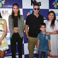 Jacqueline Fernandes, Lisa Haydon and Akshay Kumar at Promote 'Housefull 3' in Delhi