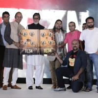 Vishal Dadlani,Amitabh Bachchan, Clinton Cerejo and Ribhu Dasgupta at Song Launch of 'TE3N'