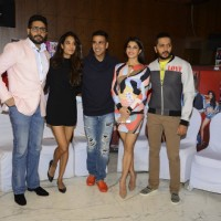 Abhishek Bachchan, Lisa Haydon, Akshay Kumar, Jacqueline Fernandes and Riteish Deshmukh at Press Mee