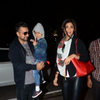 Raj Kundra and Shilpa Shetty Snapped at Airport