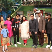 A R Rahman posing with Kapil Sharma and team on the sets of The Kapil Sharma Show