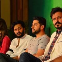 Riteish, Urvashi, Vivek and Aftab at Press meet of 'Grand Masti' on Piracy Issue
