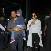 Raj Kundra and Shilpa Shetty with their kid spotted at airport