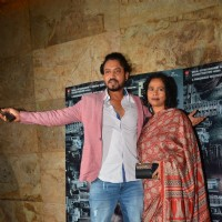 Actor Irrfan Khan with wife Sutapa Sikdar at the special screening of Madaari