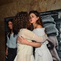 Kriti Sanon and Kangana Ranaut hugging at the special screening of Madaari