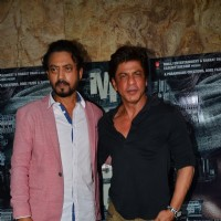 Irrfan Khan and Shah Rukh Khan at the special screening of Madaari