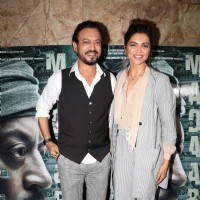 Deepika Padukone with Irrfan Khan at the special screening of 'Madaari'
