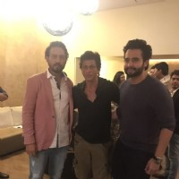 Shah Rukh Khan and Jackky Bhagnani with Irrfan Khan at the special screening of 'Madaari'