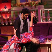 Arshad and Maria on the sets of Kapil Sharma