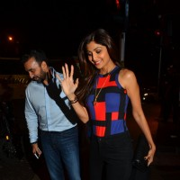 Actress Shilpa Shetty Snapped with Husband Raj Kundra