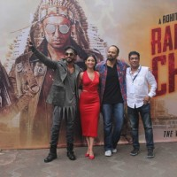Ranveer Singh, Tamannaah Bhatia and Rohit Shetty promotes'Ranveer Ching Returns' at Gaitey Galaxy Th