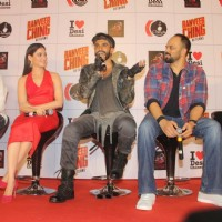 Ranveer Singh, Tamannaah Bhatia and Rohit Shetty of 'Ranveer Ching Returns' at Gaitey Galaxy Theatre