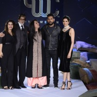 Amitabh Bachchan, Deepika Padukone and Kajol at Launch of new Clothing line 'YouWeCan'