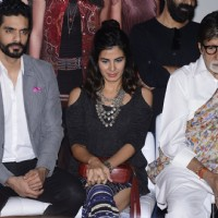 Kirti Kulhari, Amitabh Bachchan and Angad Bedi at Success meet of 'Pink'