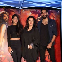 Poonam Dhillon with her daughter Paloma and son Anmol at Promotion of film 'Mirzya'