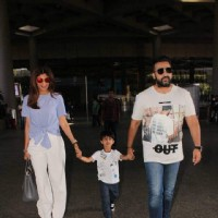 Shilpa Shetty and Raj Kundra snapped with their son at the airport