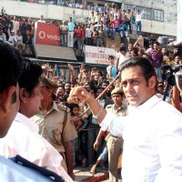 "Bollywood Star Salman Khan after selling tickets for his upcoming film ""London Dreams"" at Delite Theatre in New Delhi on Monday 26 Oct 2009 