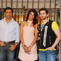 "Madhur Bhandarkar, Neil Nitin Mukesh and Mugdha Godse at ""JAIL"" promotional event, Oberoi Mall in Mumbai 