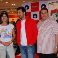 "Katrina Kaif, Ranbir Kapoor and producer Ramesh Taurani promote their film ""Ajab Prem ki Gazab Kahani"" at Reliance Trends 