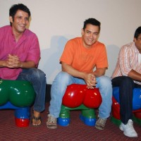 "Bollywood actors Sharman Joshi, Aamir Khan and R Madhavn at a press conference in Mumbai where they were promoting their upcoming movie ""3 Idiots"" 