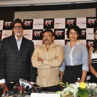 "Bollywood actors Mohnish Behl, Rajat Kapoor, Amitabh Bachchan, Ritesh Deshmukh, Neetu Chandra, Ram Gopal Varma and Gul Panag at the press meet of ""Rann"" 