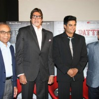 "Mega Star Amitabh Bachchan and R Madhavan at the press meet of ""Teen Patti"" in Cinemax in Mumbai 