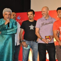 "Javed Akhtar, Shankar Mahadevan, Ehsaan, Loy and Farhan Akhtar at ""Karthik Calling Karthik Film Music Launch"" in Cinemax 