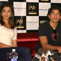 New Delhi,22 Feb 2010-Bollywood actors Deepika Padukone and Farhan Akhtar in New Delhi to promote their film ''''Karthik calling Karthik'''' on Monday | Karthik Calling Karthik  Event Photo Gallery