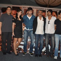 "Katrina Kaif, Ranbir Kapoor, director Prakash Jha, Arjun Rampal and Manoj Bajpayee, at a press meet for film ""Rajneeti"" in JW Marriott, Mumbai 