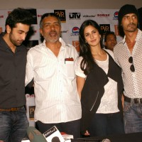 "Bollywood actors Ranbir Kapoor, Katrina Kaif, Arjun Rampal and director Prakash Jha at the press conference for their film ""RAJNEETI"",in New Delhi on Thursday 