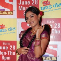 "A TV actress at the launch of Sab Tv''s new serial ""Papad Pol Shahbuddin Rathod Ki Rangeen Duniya"""