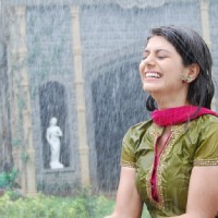 Divya enjoying rain