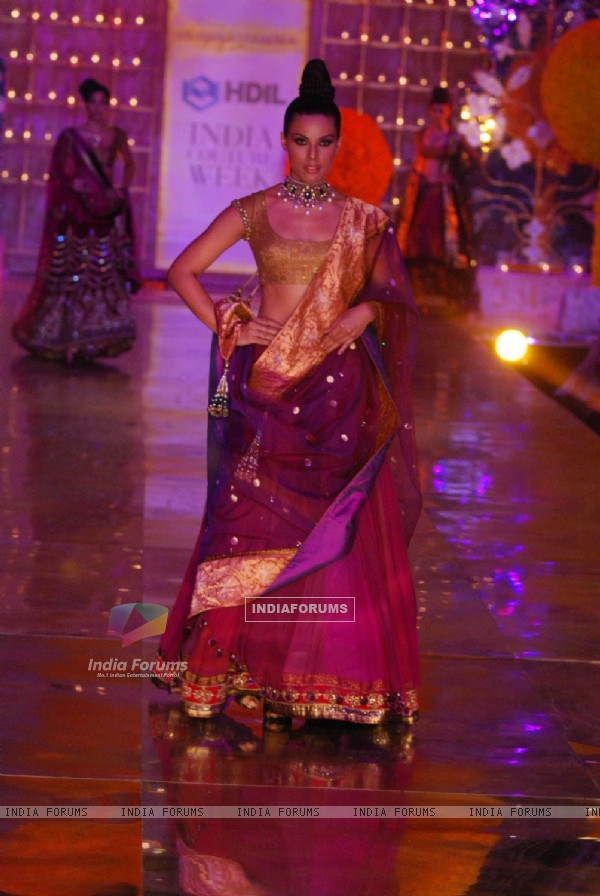 Model showcasing on ramp for Manish Malhotra on day 1 of HDIL